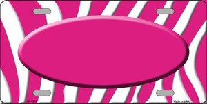 Hot Pink White Zebra Pattern With Center Oval Wholesale Metal Novelty License Plate LP-1376