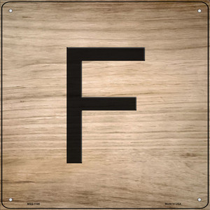 F Letter Tile Wholesale Novelty Mini Metal Square Sign MSQ-1108