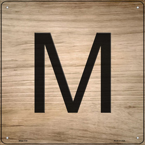 M Letter Tile Wholesale Novelty Mini Metal Square Sign MSQ-1115