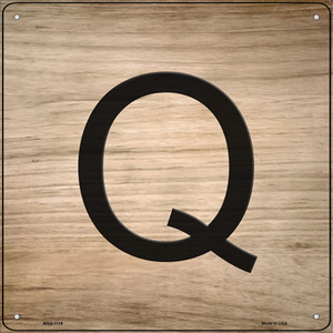 Q Letter Tile Wholesale Novelty Mini Metal Square Sign MSQ-1119