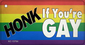 Honk If Youre Gay Wholesale Novelty Metal Key Chain Tag KC-13764