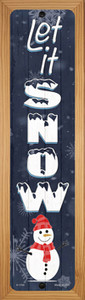 Let It Snow Snowman Wholesale Novelty Wood Mounted Small Metal Street Sign WB-K-1704