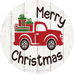 Merry Christmas Present Truck Wholesale Novelty Metal Circle Magnet CM-1357