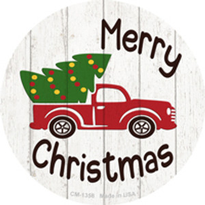 Merry Christmas Tree Truck Wholesale Novelty Metal Circle Magnet CM-1358