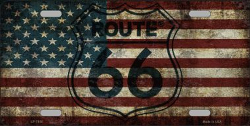 Route 66 Historic 8 Flags Metal License Plate