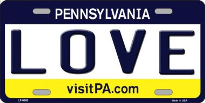 Love Pennsylvania State Background Novelty Wholesale Metal License Plate