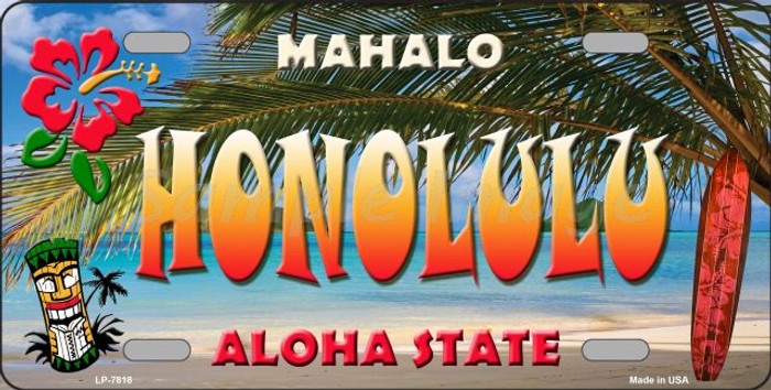 Honolulu Hawaii State Background Novelty Wholesale Metal License Plate