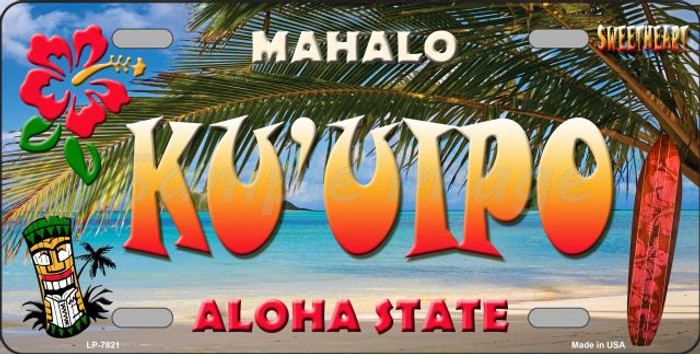 Ku' uipo Hawaii State Background Novelty Wholesale Metal License Plate