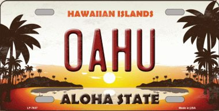 Oahu Hawaiian Islands Background Novelty Wholesale Metal License Plate