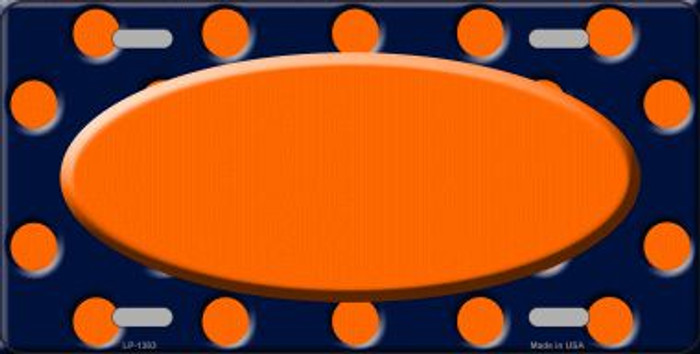Orange Navy Blue Polka Dot Print With Orange Center Oval Wholesale Metal Novelty License
