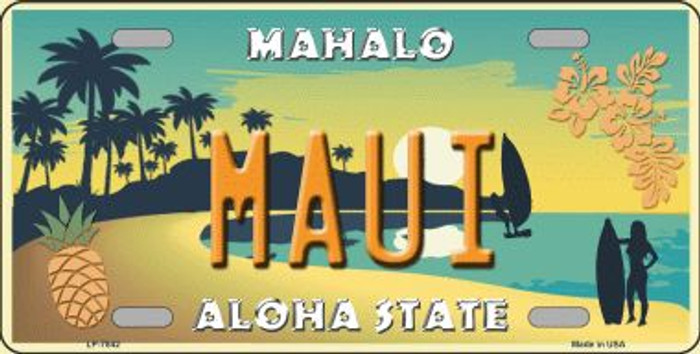 Maui Hawaii Pineapple Background Novelty Wholesale Metal License Plate