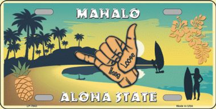 Hang Loose Hawaii Pineapple Background Novelty Wholesale Metal License Plate