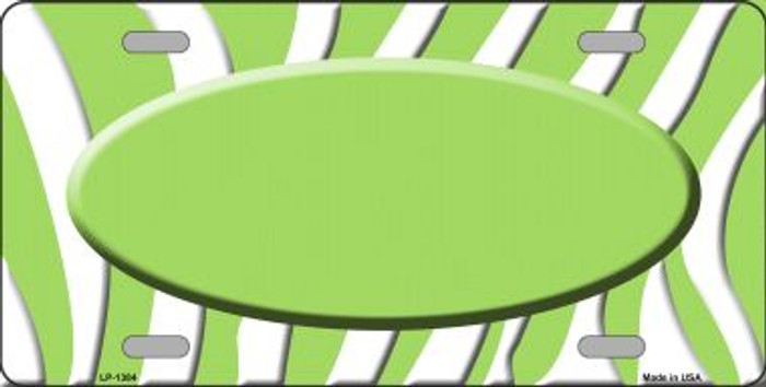 Lime Green White Zebra Pattern With Center Oval Wholesale Metal Novelty License Plate LP-1384
