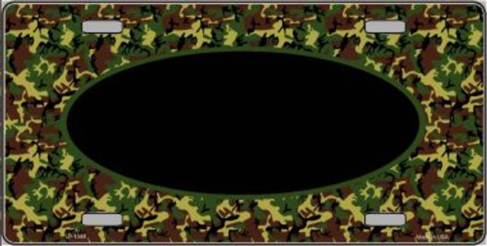 Pattern Green Camo Oval With Black Center Wholesale Metal Novelty License Plate