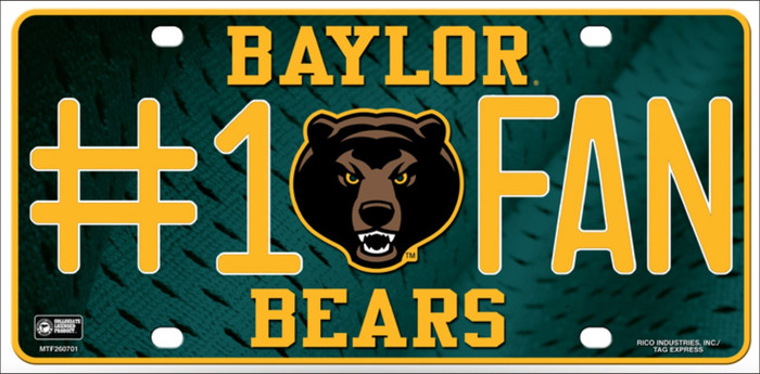 Baylor Fan Deluxe Wholesale Metal Novelty License Plate