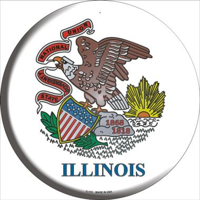 Illinois State Flag Wholesale Metal Circular Sign