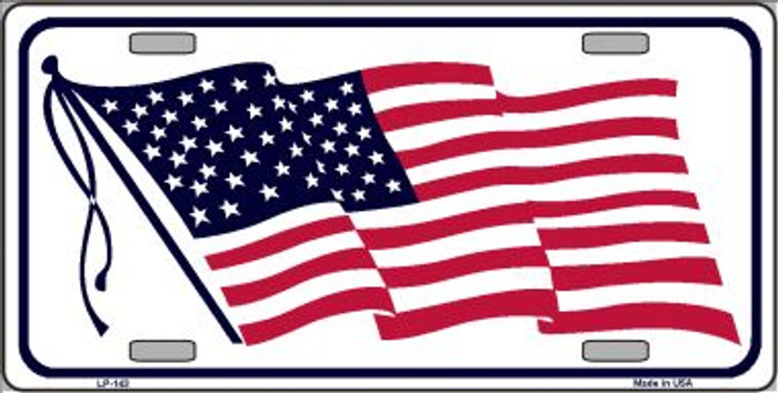 American Flag Waving White Wholesale Metal Novelty License Plate LP-143