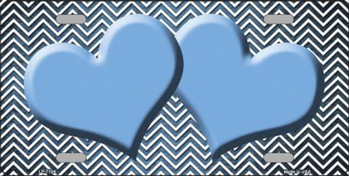 Light Blue White Small Chevron Hearts Print Oil Rubbed Wholesale Metal Novelty License Plate