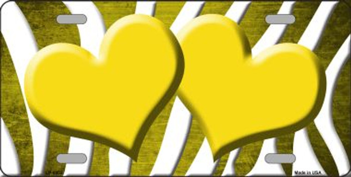Yellow White Zebra Hearts Oil Rubbed Wholesale Metal Novelty License Plate