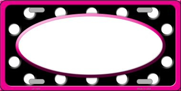 White Black Polka Dots Print With Pink Frame And White Center Oval Wholesale Metal Novelty License Plate