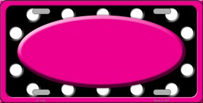 White Black Polka Dots Print With Pink Frame And Center Oval Wholesale Metal Novelty License Plate