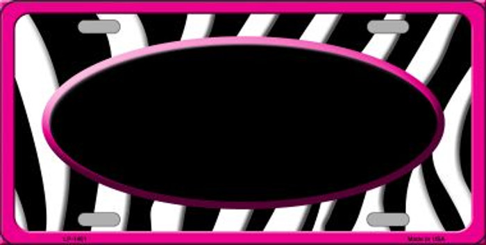 Black White Pink Zebra Print With Center Oval Wholesale Metal Novelty License Plate LP-1461