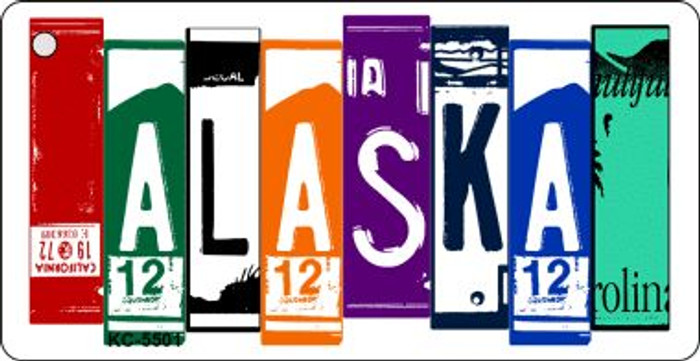 Alaska License Plate Art Metal Novelty Key Chain