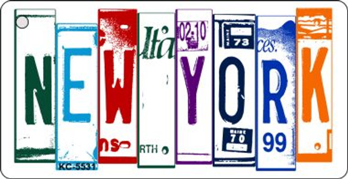New York License Plate Art Metal Novelty Mini License Plate Key Chain