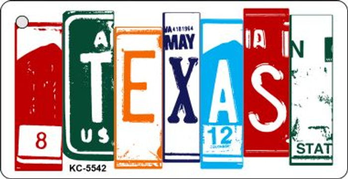 Texas License Plate Art Metal Novelty Mini License Plate Key Chain