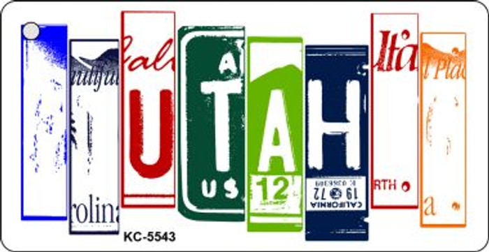 Utah License Plate Art Metal Novelty Mini License Plate Key Chain