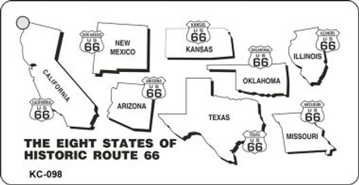 8 States Route 66 Mini License Plate Metal Novelty Key Chain