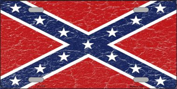 Distressed Confederate Flag Wholesale Metal Novelty License Plate