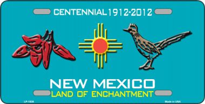 Red Chili & Road Runner New Mexico Teal Wholesale Novelty Metal License Plate LP-1528