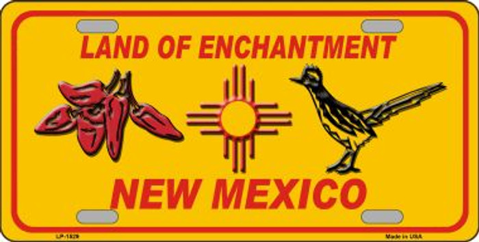 Red Chili & Road Runner Yellow New Mexico Wholesale Novelty Metal License Plate LP-1529