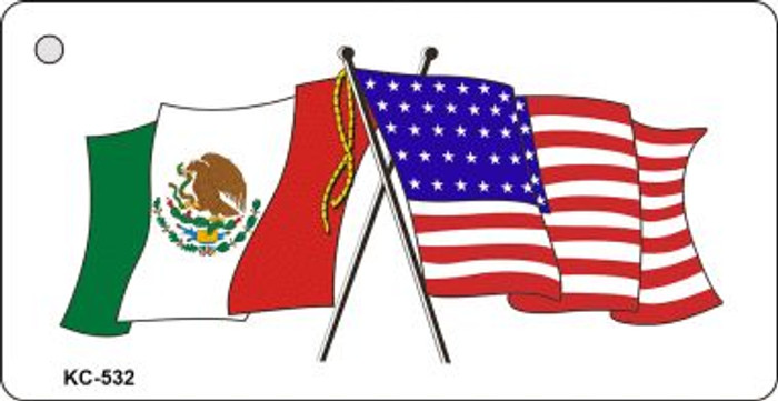 Mexico USA Crossed Flag Wholesale Novelty Key Chain