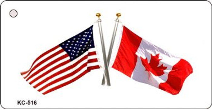 USA Canada Crossed Flag Wholesale Novelty Key Chain