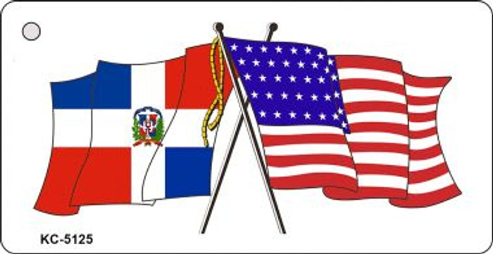 Dominican Republic USA Crossed Flags Wholesale Novelty Key Chain