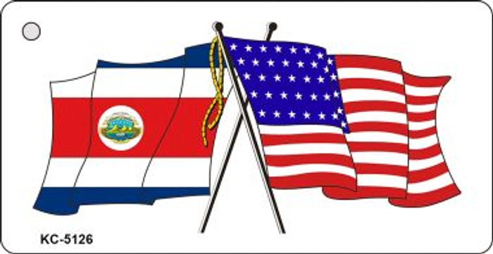 Costa Rica USA Crossed Flags Wholesale Novelty Key Chain