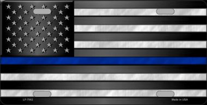 American Flag Thin Blue Line Novelty Wholesale Metal License Plate