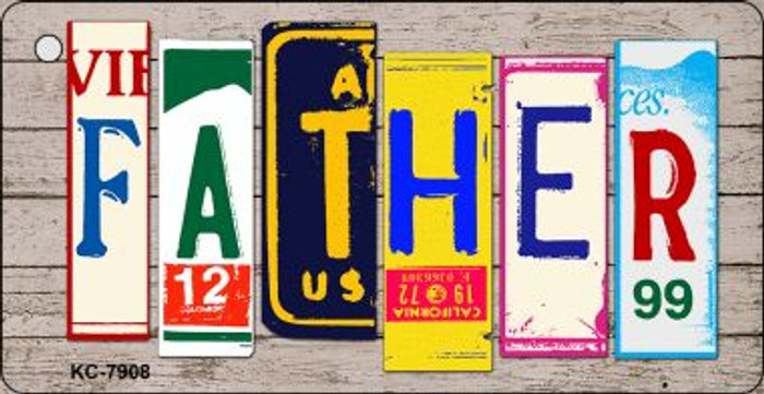 Father Wood License Plate Art Wholesale Novelty Key Chain