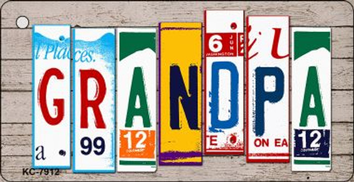 Grandpa Wood License Plate Art Wholesale Novelty Key Chain