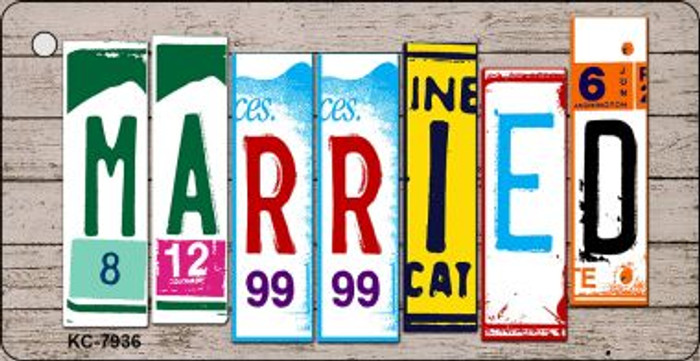 Married Wood License Plate Art Wholesale Novelty Key Chain