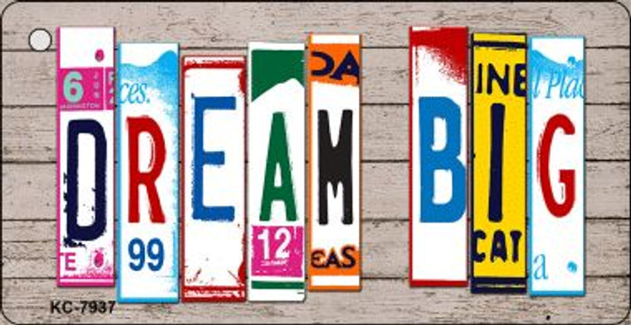 Dream Big Wood License Plate Art Wholesale Novelty Key Chain