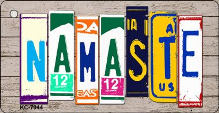 Namaste Wood License Plate Art Wholesale Novelty Key Chain