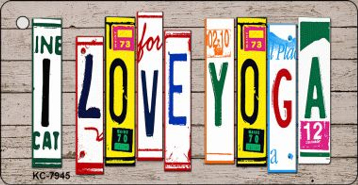 I Love Yoga Wood License Plate Art Wholesale Novelty Key Chain