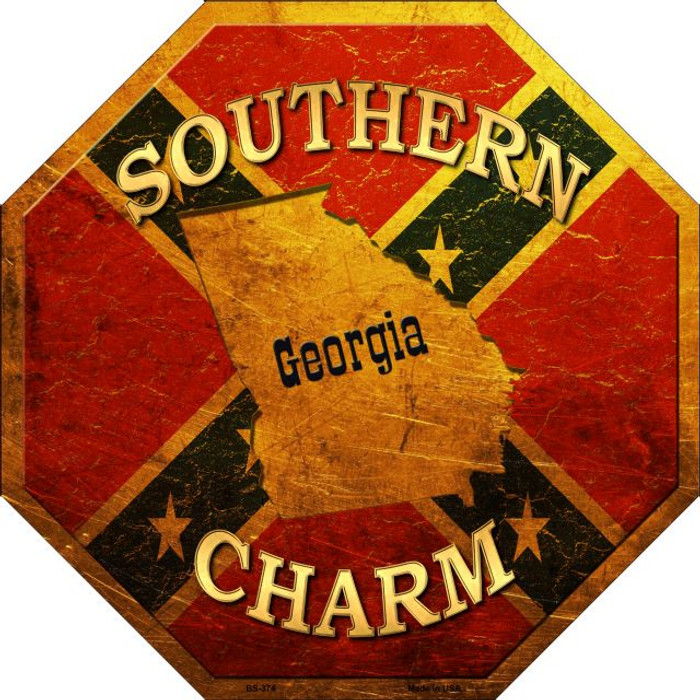 Southern Charm Georgia Wholesale Metal Novelty Stop Sign