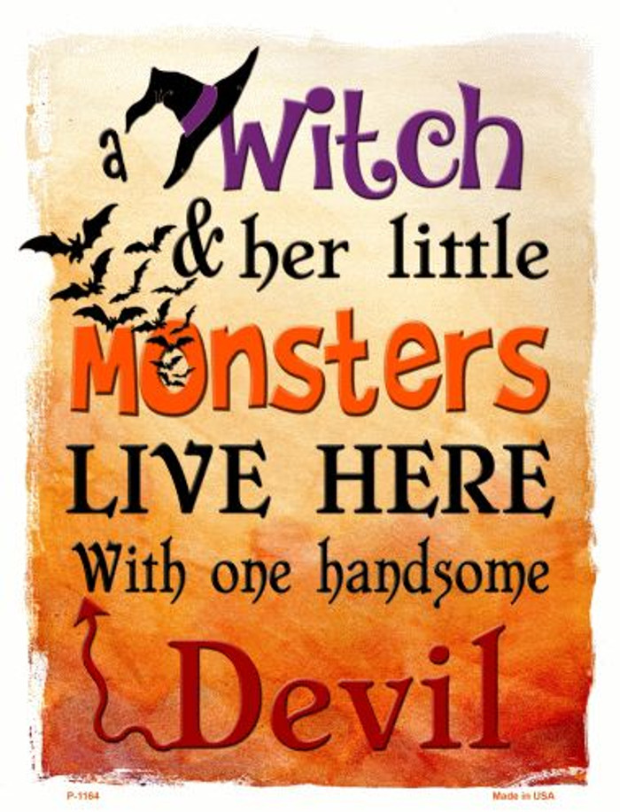 Witch Monsters Devil Wholesale Metal Novelty Parking Sign