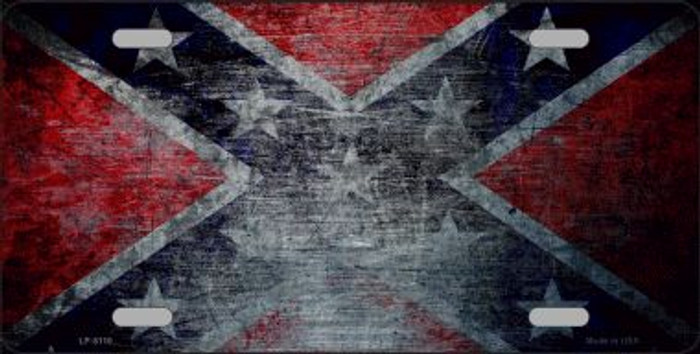 Confederate Flag Scratched Novelty Wholesale Metal License Plate LP-8110