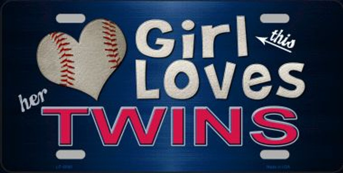 This Girl Loves Her Twins Novelty Wholesale Metal License Plate