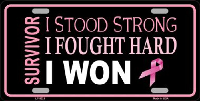 Breast Cancer Survivor Ribbon Novelty Wholesale Metal License Plate LP-8229